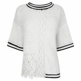 French Connection  Knitted T Shirt  women's Sweater in White