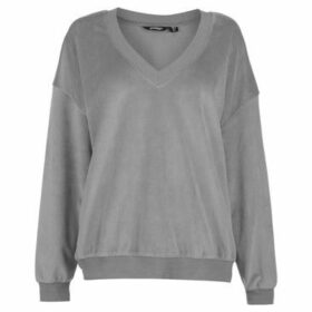 Golddigga  Velour Sweater Ladies  women's Sweater in Grey