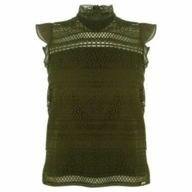 Guess  Lace Overlay T Shirt  women's Blouse in Green