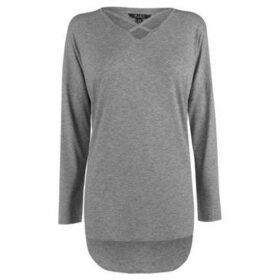 Miso  Long Sleeve Cross Strap Tee Ladies  women's Blouse in Grey