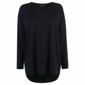Miso  Long Sleeve Cross Strap Tee Ladies  women's Blouse in Black