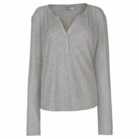 Miso  Button Placket Top Ladies  women's Blouse in Grey