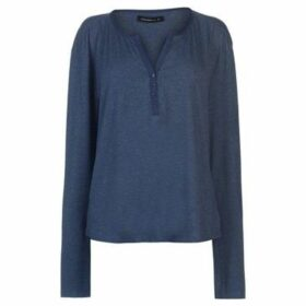 Miso  Button Placket Top Ladies  women's Blouse in Blue