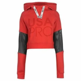 Usa Pro  Crop Mesh Hoodie Ladies  women's Sweatshirt in Red