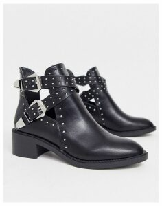 Pimkie buckle studd boot in black