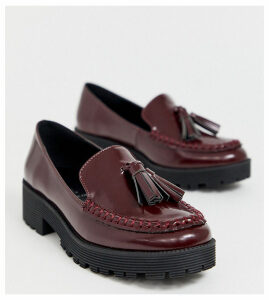 London Rebel wide fit chunky tassel loafers in oxblood-Red