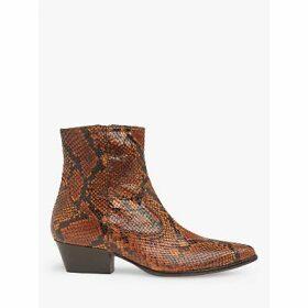 L.K.Bennett Choral Snake Print Leather Cowboy Ankle Boots, Honey