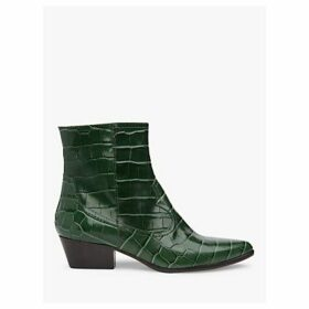 L.K.Bennett Choral Croc Effect Leather Cowboy Ankle Boots, Forest