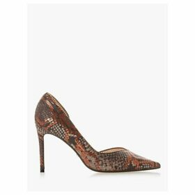 Dune Dream Leather Stud Lined Court Shoes, Brown Reptile