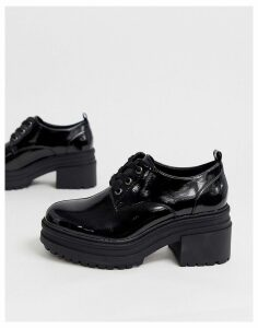 ASOS DESIGN Survivor chunky mid-heels in black patent