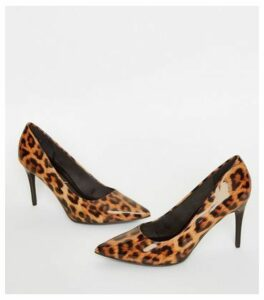 Stone Patent Leopard Print Stiletto Courts New Look