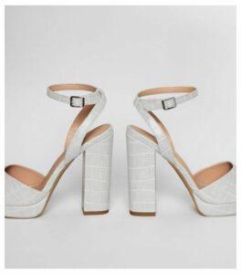 Grey Faux Croc Square Toe Platform Heels New Look