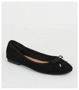 Black Suede Bow Front Ballet Pumps New Look