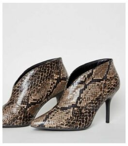 Brown Faux Snake Stiletto Shoe Boots New Look