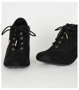 Wide Fit Black Suedette Lace Up Shoe Boots New Look Vegan