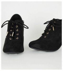 Wide Fit Black Suedette Lace Up Shoe Boots New Look Vegan