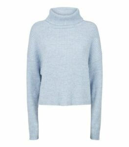 Pale Blue Ribbed Knit Roll Neck Jumper New Look
