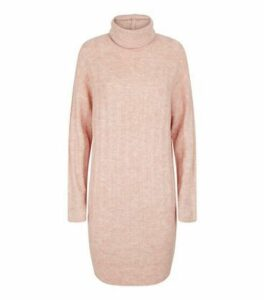 Pale Pink Roll Neck Jumper Dress New Look