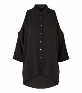 Black Cold Shoulder Batwing Shirt New Look