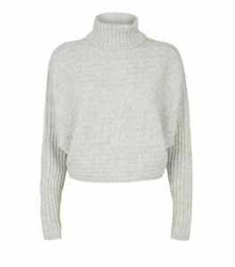 Pale Grey Roll Neck Crop Jumper New Look