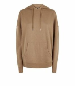 Brown Long Sleeve Jersey Hoodie New Look