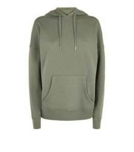 Khaki Long Sleeve Jersey Hoodie New Look