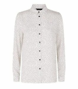 White Ditsy Floral Long Sleeve Shirt New Look