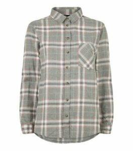 Petite Light Grey Check Shirt New Look