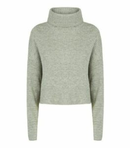 Light Green Ribbed Knit Roll Neck Jumper New Look