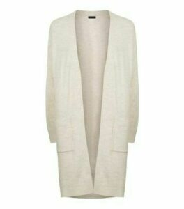 Cream Ribbed Long Sleeve Longline Cardigan New Look