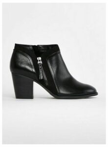 Extra Wide Fit Black Side Zip Ankle Boots, Black
