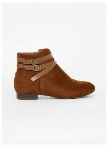 Extra Wide Fit Brown Double Strap Ankle Boots, Brown