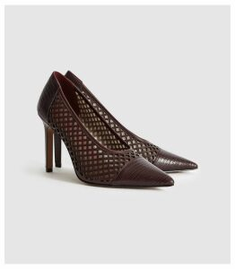 Reiss Clover Lizard - Leather Cut Out Detailed Heels in Pomegranate, Womens, Size 8
