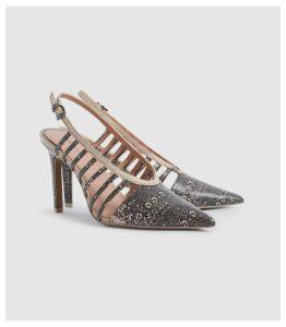 Reiss Daphne - Leather Slingback Heels in Truffle, Womens, Size 8