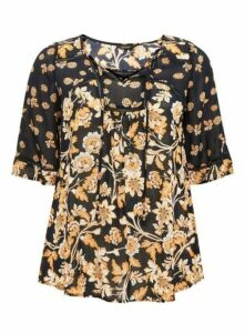 Navy Blue Floral Print Top, Black
