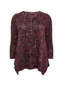 Purple Paisley Floral Pintuck Detail Top, Purple