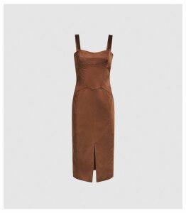 Reiss Madeleine - Structured Bodycon Dress in Chocolate, Womens, Size 16