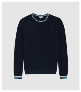 Reiss Amble - Textured Crew Neck Jumper in Navy, Mens, Size XXL