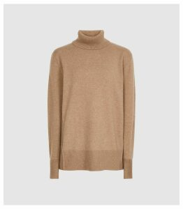 Reiss Clio - Cashmere Rollneck Jumper in Camel, Womens, Size XXL