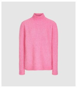Reiss Elsie - Chunky Ribbed Turtleneck Jumper in Pink, Womens, Size XXL