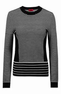 Knitted sweater with mixed stripes