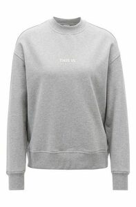 Oversized-fit sweatshirt in French terry with mock neckline
