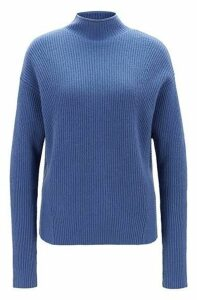 Relaxed-fit sweater in pure cashmere with funnel neck