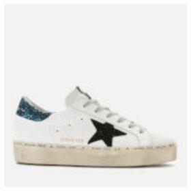 Golden Goose Deluxe Brand Women's Hi Star Leather Flatform Trainers - White/Blue Glitter/Black Star