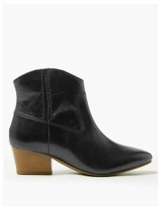 M&S Collection Leather Block Heel Western Ankle Boots