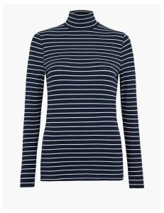 M&S Collection Striped Polo Neck T-Shirt