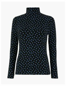 M&S Collection Leaf Print Fitted Long Sleeve Top