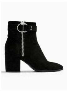Womens Bea Black Buckle Ankle Boots, BLACK