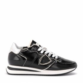 Philippe Model Tropez X Sneaker In Black Patent Leather With Sheepskin