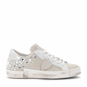 Philippe Model Paris X Sneaker In White Suede With Heat-sealed Swarovski Stones